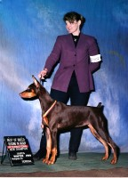 Baebea receives her International Champion Title with breeder/handler Mary Leahy.